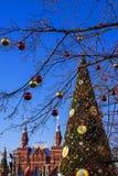 La decoración del Año Nuevo de la Plaza Roja en Moscú, Rusia Fotos de archivo libres de regalías