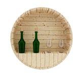 La decoración del barril del roble del vino en 3D rinde imagen stock de ilustración