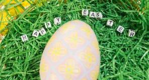 La decoración del escritorio de Pascua con corta en cuadritos Foto de archivo libre de regalías
