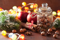 La decoración del invierno condimenta nueces del árbol de navidad del canela Imagen de archivo