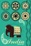 La decoración fijó en estilo indio Imagen de archivo libre de regalías