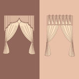 la decoración interior de las cortinas y de las pañerías diseña el ejemplo aislado colección realista del vector de los iconos de Imagen de archivo