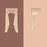la decoración interior de las cortinas y de las pañerías diseña el ejemplo aislado colección realista del vector de los iconos de Foto de archivo