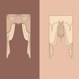 la decoración interior de las cortinas y de las pañerías diseña el ejemplo aislado colección realista del vector de los iconos de Fotografía de archivo