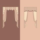 la decoración interior de las cortinas y de las pañerías diseña el ejemplo aislado colección realista del vector de los iconos de Imagen de archivo libre de regalías