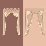 la decoración interior de las cortinas y de las pañerías diseña el ejemplo aislado colección realista del vector de los iconos de Fotos de archivo libres de regalías