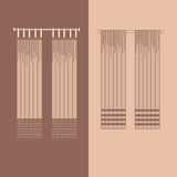 la decoración interior de las cortinas y de las pañerías diseña el ejemplo aislado colección realista del vector de los iconos de Fotografía de archivo libre de regalías