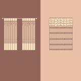 la decoración interior de las cortinas y de las pañerías diseña el ejemplo aislado colección realista del vector de los iconos de Imágenes de archivo libres de regalías