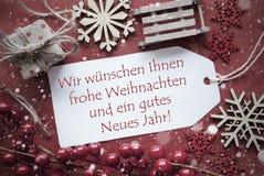 La decoración nostálgica, etiqueta con Weihnachten Jahr significa Año Nuevo de la Navidad Imágenes de archivo libres de regalías