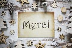 La decoración rústica de la Navidad, papel, medios de Merci le agradece fotografía de archivo libre de regalías