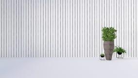 La decoración vieja de la pared con la planta verde en vase-3D rinde Fotos de archivo libres de regalías
