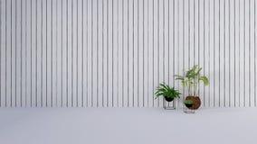 La decoración vieja de la pared con la planta verde en vase-3D rinde Foto de archivo