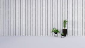 La decoración vieja de la pared con la planta verde en vase-3D rinde Fotos de archivo