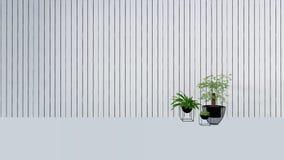 La decoración vieja de la pared con la planta verde en vase-3D rinde Imágenes de archivo libres de regalías