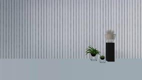 La decoración vieja de la pared con la planta verde en vase-3D rinde Foto de archivo libre de regalías