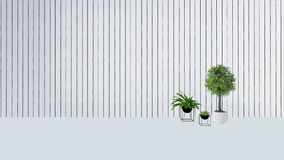 La decoración vieja de la pared con la planta verde en vase-3D rinde Imagen de archivo libre de regalías