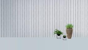 La decoración vieja de la pared con la planta verde en vase-3D rinde Fotografía de archivo libre de regalías
