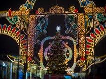 La decoración y las luces del árbol de navidad de Moscú en Manezhnaya ajustan Imagen de archivo libre de regalías