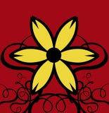 La decoración se encrespa con la flor amarilla y el fondo rojo Foto de archivo