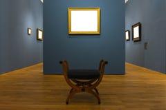La decorazione in bianco di Art Museum Isolated Painting Frame all'interno mura immagini stock libere da diritti