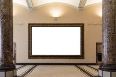 La decorazione in bianco di Art Museum Isolated Painting Frame all'interno mura Immagine Stock