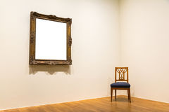 La decorazione in bianco di Art Museum Isolated Painting Frame all'interno mura Fotografia Stock