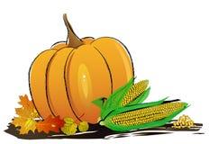 La decorazione di autunno ha sistemato con le foglie, le zucche e più asciutti illustrazione vettoriale