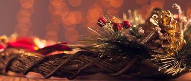 La decorazione di Natale con la festa accende - la scatola di lettera Fotografia Stock Libera da Diritti