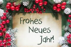 La decorazione di Natale, Frohes Neues Jahr significa il buon anno immagini stock libere da diritti