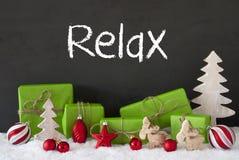 La decorazione di Natale, il cemento, la neve, testo si rilassa Immagini Stock Libere da Diritti