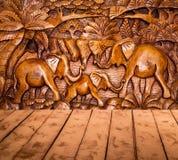 La decorazione ed il pavimento di legno Immagini Stock