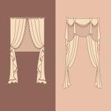 la decorazione interna dei drappi e delle tende progetta l'illustrazione di vettore isolata raccolta realistica delle icone di id Immagine Stock Libera da Diritti