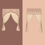 la decorazione interna dei drappi e delle tende progetta l'illustrazione di vettore isolata raccolta realistica delle icone di id Immagine Stock