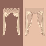 la decorazione interna dei drappi e delle tende progetta l'illustrazione di vettore isolata raccolta realistica delle icone di id Fotografie Stock Libere da Diritti