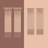 la decorazione interna dei drappi e delle tende progetta l'illustrazione di vettore isolata raccolta realistica delle icone di id Fotografia Stock Libera da Diritti