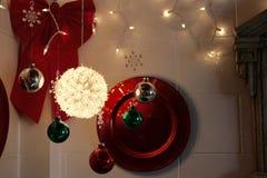 La decorazione semplice di festa accende un angolo fotografia stock libera da diritti