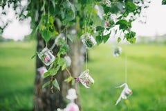 La decorazione stona i fiori che appendono l'albero con fogliame verde Fotografia Stock Libera da Diritti