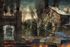 La defensa del tanque destruyó el campo Imágenes de archivo libres de regalías
