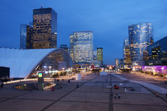 La Defense. Illuminated office buildings in La Defense, French financial district in Paris, at dusk Stock Images