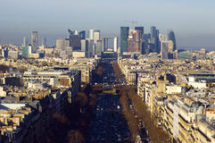La Defense. The Avenue Charles de Gaulle and La Defense, Paris Stock Image