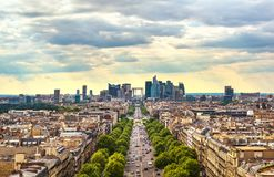 La Defense business area, Grande Armee avenue. Paris, France. La Defense business area, La Grande Armee avenue. View from Arc de Triomphe. Paris, France, Europe Royalty Free Stock Photos