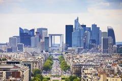La Defense business area, Grande Armee avenue. Paris, France Royalty Free Stock Images