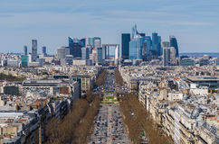 La Defense business area, La Grande Armee avenue. View from Arc de Triomphe. Paris, France, Europe Royalty Free Stock Photography