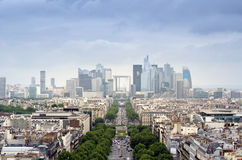 La Defense business area in Paris. La Defense business area, La Grande Armee avenue. View from Arc de Triomphe. Paris, France Royalty Free Stock Photo