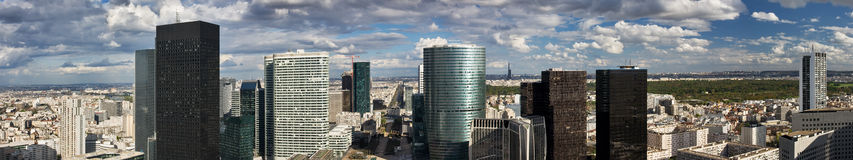 La Defense business district. Skyscrapers and office buildings above the central pedestrian area in La Defense, Paris, leading to the Arc de Triomphe and the Royalty Free Stock Images