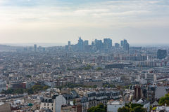 La defense business district in the haze aerial view in Paris Royalty Free Stock Photo