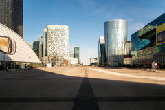 La Defense business district in Paris at morning, France. Stock Photos