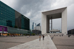 La Defense business district in Paris before storm Stock Images