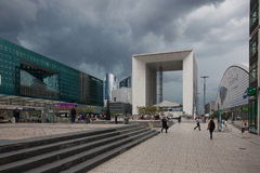 La Defense business district in Paris before storm Stock Photos