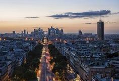 La Defense, business district in Paris. La Defense district viewed from the Arc de Triomphe Stock Image
